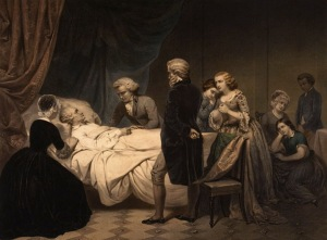 An artistic depiction of George Washington's death. Notice how there is only one slave shown in the picture.