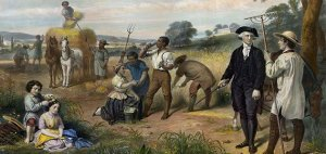 Here is a photo of George Washington amongst his slaves at Mount Vernon