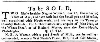 Ad for sale of slaves in the Pennsylvania Gazette